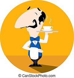 Waiter serving a cup of hot coffee or tea flat vector illustration fun cartoon styl