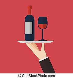 Waiter serving a wine bottle and wine glass