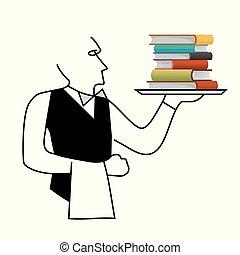 Waiter serving books, sales of books concept.