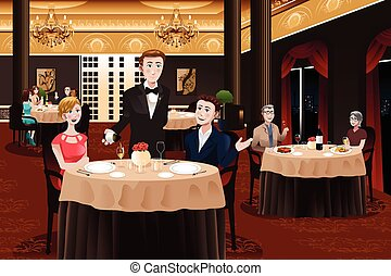 Waiter Serving Customers - A vector illustration of a waiter...