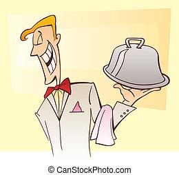 Waiter serving dish - Illustration of happy waiter serving...