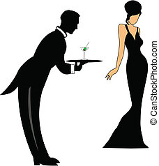 waiter serving drinks - waiter serving a martini to lady in...