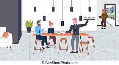 waiter serving drinks to businesspeople couple man woman having break business time coffee point concept flat full length modern cafe interior horizontal
