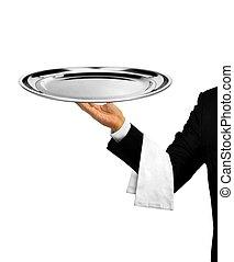 Waiter Serving Empty Platter