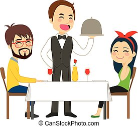 Waiter Serving Restaurant - Happy waiter serving on...
