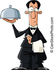 The waiter on a white background, vector illustration