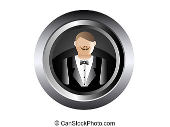 waiter vector illustration in black