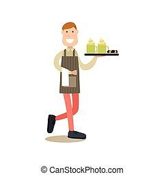 Waiter vector illustration in flat style