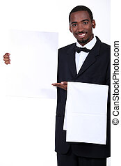 Waiter with a board left blank for your message