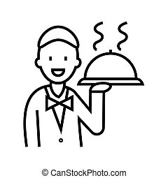 Waiter with a dish line icon, concept sign, outline vector illustration, linear symbol.