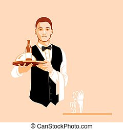 Waiter with a serving tray
