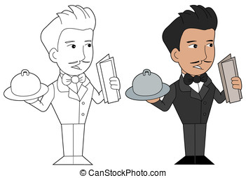Waiter with a tray cartoon