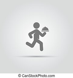 waiter with a tray isolated vector icon