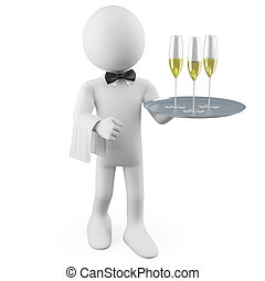 Waiter with a tray with three glasses of champagne. Rendered...
