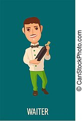 Waiter with bottle wine. Vector flat illustration