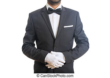 Waiter with bow tie