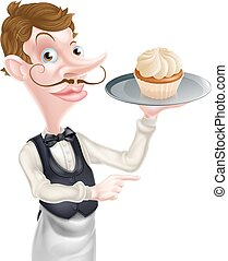 Waiter with Cake Pointing