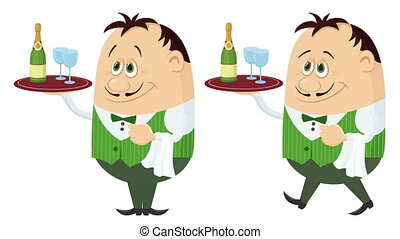 Waiter with Champagne Seamless Loop