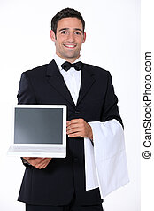 Waiter with computer