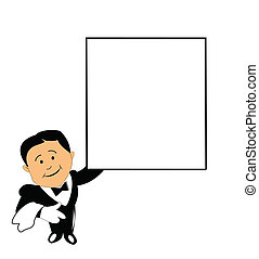waiter with copyspace - waiter in tux holding blank sign for...