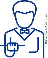 Waiter with food tray line icon concept. Waiter with food tray flat  vector symbol, sign, outline illustration.