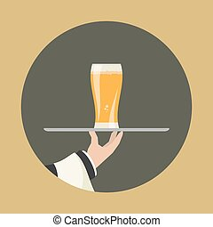 Waiter with glass of beer