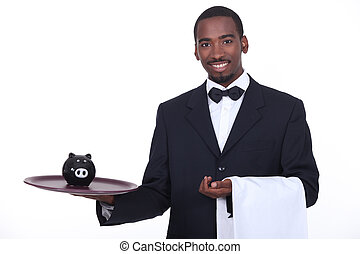 Waiter with piggy bank
