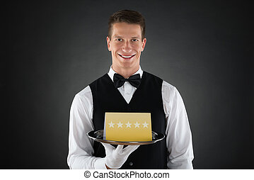 Waiter With Star Rating Board