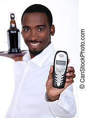 waiter with telephone
