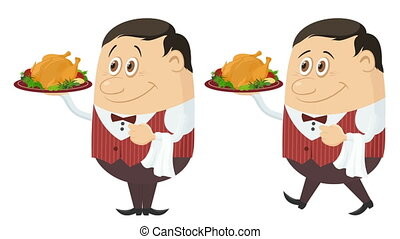 Waiter with Turkey, Seamless Loop