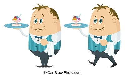 Waiter with Turkey, Seamless Loop