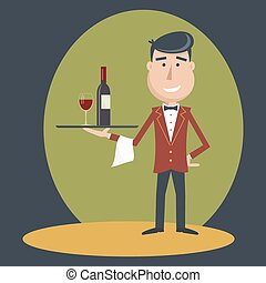 Waiter with wine bottle and wine glass.