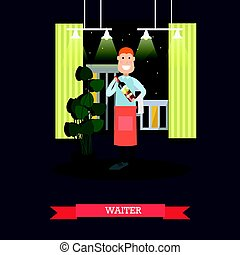Waiter with wine bottle vector illustration in flat style