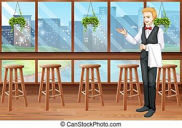 Waiter working in the restaurant