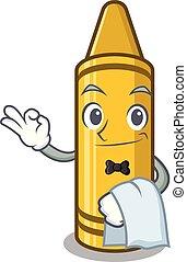 Waiter yellow crayon in the cartoon wallet