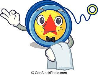 Waiter yoyo mascot cartoon style vector illustration