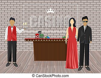Waiters inviting people in the casino. Luxury clothes. Chips on red table. Bricks on background. Vectors