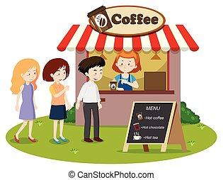 waitin, linha, levantar, coffe, pessoas