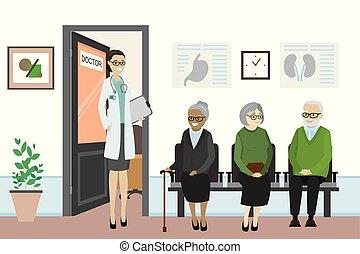 waiting., άνθρωποι , ακάνθουρος , γριά , γραφείο , πόρτα , γελοιογραφία