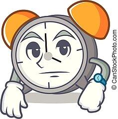 Waiting alarm clock mascot cartoon vector illustration