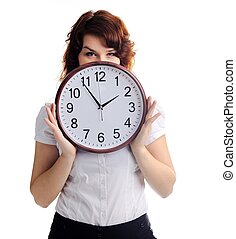 An image of a beautiful woman with a clock