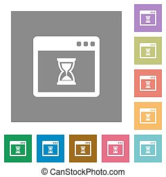 Waiting application square flat icons