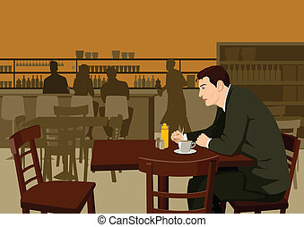 Waiting at cafe - Stock illustration of a man waiting at the...