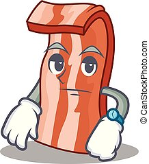 Waiting bacon mascot cartoon style vector illustration