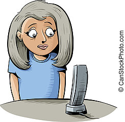 Waiting by the Phone - A cartoon woman waits for her phone...