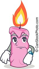 Waiting candle character cartoon style vector illustration