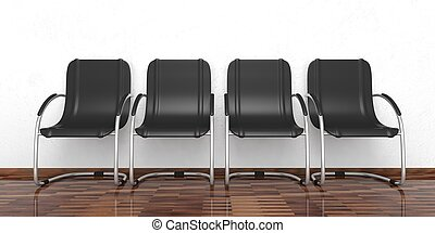 Waiting chairs on a wooden floor. 3d illustration
