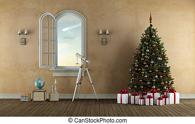 waiting christmas in a old room