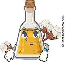 Waiting cottonseed oil at the cartoon table vector ...