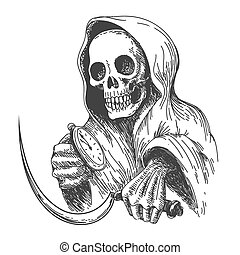 Waiting Death - Death with sickle and pocket watch. Ink...